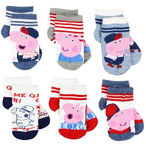 Peppa Pig George Boys 6 pack Socks (2-4 (Shoe:4-7), Game On Quarter) -