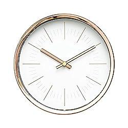 Modern Design Scandinavian 6 Silent Non-Ticking Sweep Movement Desktop Clock, Table Clock, Wall Clock with Rose Gold Frame (Sleek White)