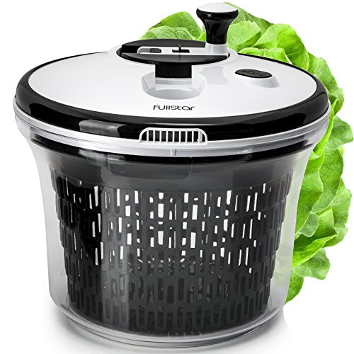 Fullstar Salad spinner lettuce dryer large - with bowl and colander basket. BPA free clear plastic kitchen 5L spinners, vegetable washer dryers with smart lock lid. Easy water drain system by Fullstar