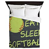 CafePress - Eat, Sleep, Softball - Queen Duvet Cover, Printed Comforter Cover, Unique Bedding, Microfiber