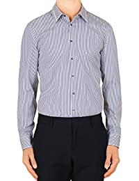 Mens White Stripe Web Detail Skinny Shirt
