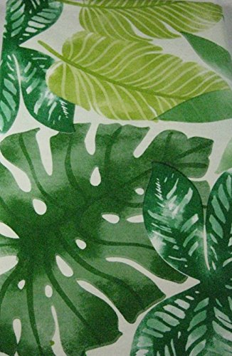 Flannel Back Vinyl Tablecloths Tropical Leaves Green Asso...
