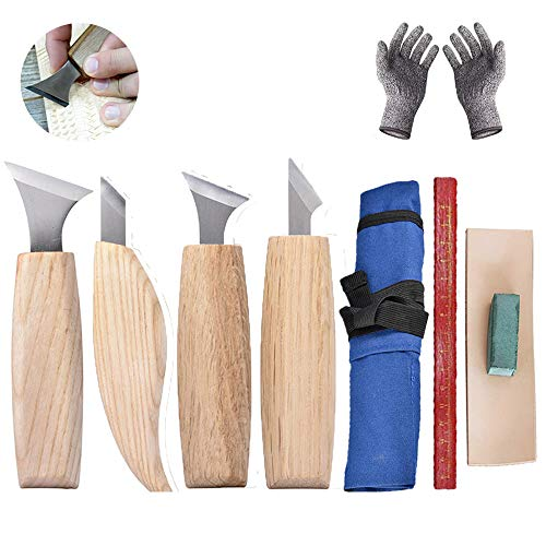 Wood Carving Knife/Wood Carving Tools Set Geometric Chip Carving Detail Knife - Woodworking Whittling Knife for Beginners/Professional, 4 Detail Knives in Tools Roll