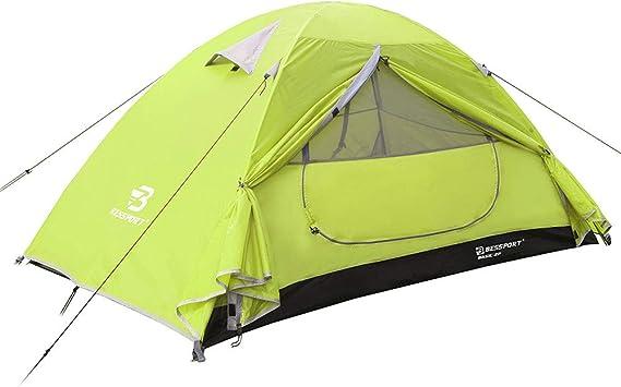 Bessport Tienda de Campaña 2 Personas Ligero con Dos Puertas A Prueba de UV/Viento Fuerte/Lluvia para Trekking, Campamento, Playa, Aventura, etc (Limede): Amazon.es: Deportes y aire libre