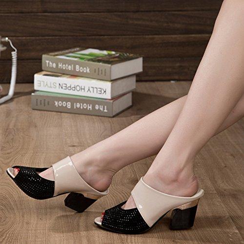 Ularma Zapatos de mujer sandalias medio tacón Color bloque Rhinestone decoración Beige