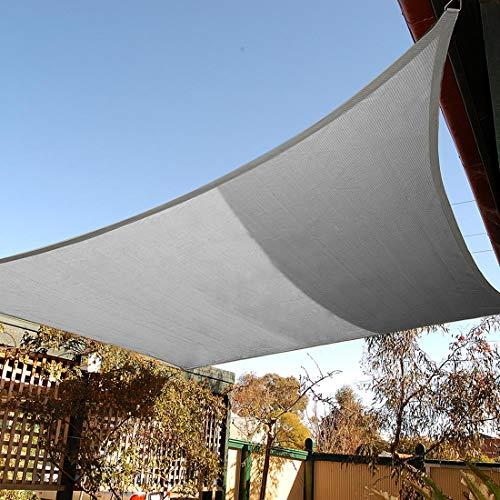 Artpuch Canopy 8'x10' Rectangle Sun Shade Sail Light Grey Sunshade Cover for Patio Outdoor Backyard Garden Poo