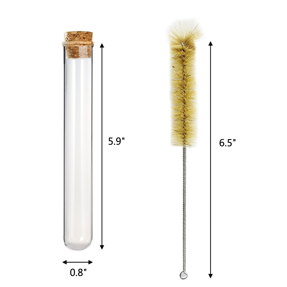 DEPEPE 20 Pack 20 x 150mm Glass Test Tubes 35ml with Cork Stoppers and Brush by DEPEPE (Image #2)