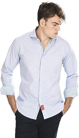 Camisa Manga Larga de Vestir, Slim fit, con Cuadros Rejilla en Color Azul Celeste para Hombre: Amazon.es: Ropa y accesorios