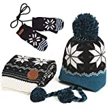 Kisbaby Boy's Fleece-lined Kocotree Christmas Winter Hat Scarf and Gloves Set with Snowflake Pattern (Navy, 4-8 Years)