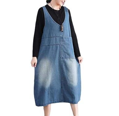 c0baa2ce0e2e0 Huateng Women's Strap Skirt Female Autumn Loose Large Size Large Pocket  Dress: Amazon.co.uk: Clothing