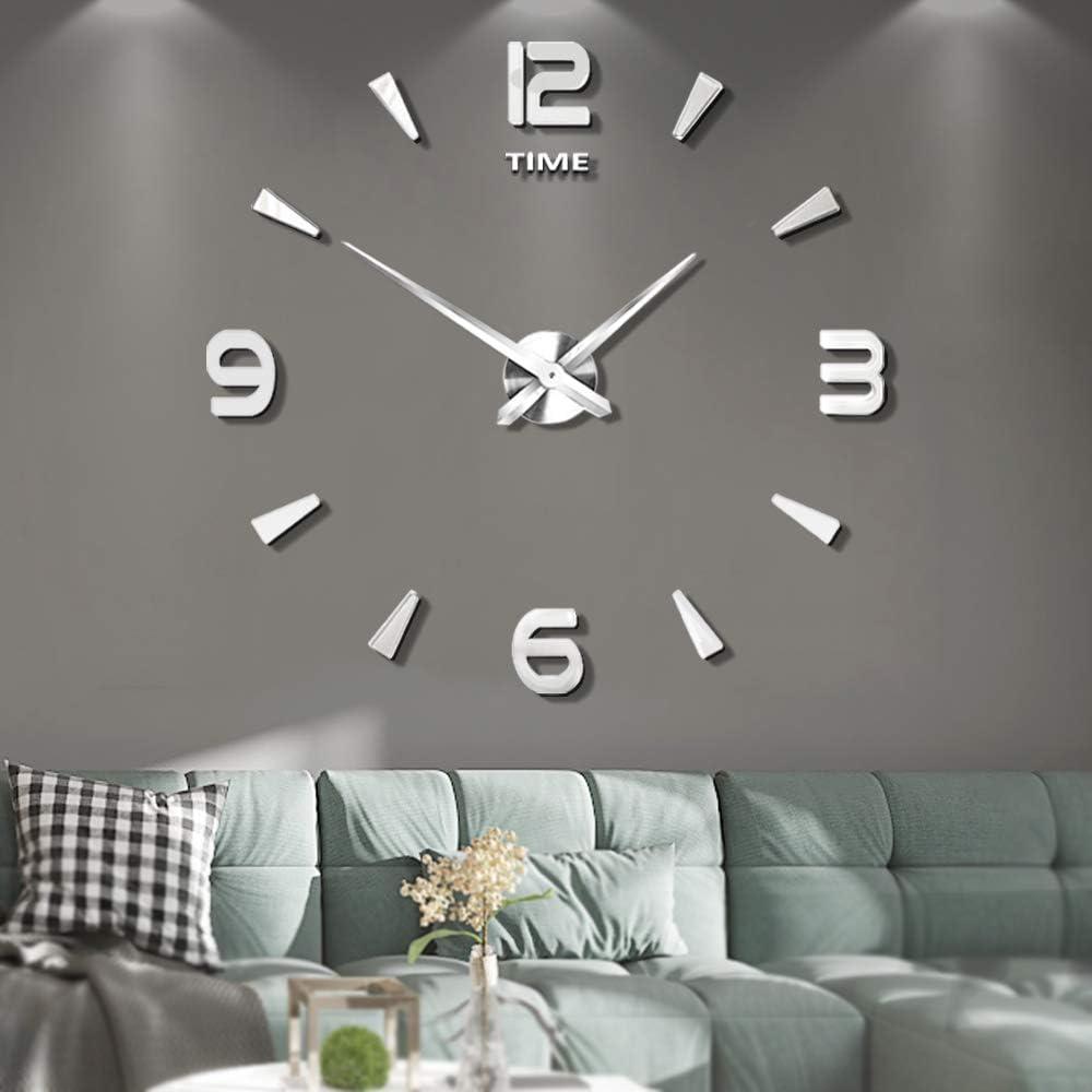 Vangold DIY Reloj de pared sin marco espejo grande 3D Sticker-2 años de garantía (Plata-73)
