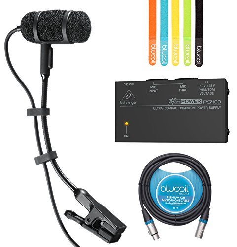 Audio-Technica PRO 35 Cardioid Condenser Clip-on Instrument Microphone​ ​​-INCLUDES-​ ​Behringer MicroPower PS400 Phantom Power Supply, Blucoil 10-Ft XLR Cable AND 5-Pack of Cable (Audio Technica Mixer)