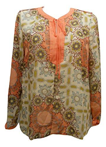 SAPPHIRE SILHOUETTE Women Sheer Top Plus Size 2X Y-Neck Multi Floral Long Sleeves Tab Shoulders