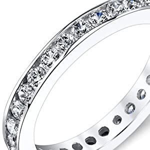 1.50 Carats White Cubic Zirconia Eternity Ring Sterling Silver Sizes 5 to 9