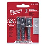 Milwaukee 48-32-5033 Power Drill Bit Extensions Shockwave Socket Adapter Set, 1/4""