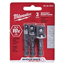 "MILWAUKEE ELEC TOOL 48-32-5033 3 Piece 1/4"" He x Adapter Set"
