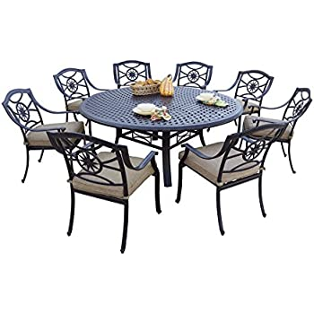 darlee 9 piece ten star cast aluminum dining set with sesame seat cushions and 71. Black Bedroom Furniture Sets. Home Design Ideas
