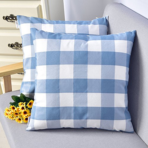 2 Pieces Natus Weaver Blue & White Buffalo Check Plaid Decorative Toss Pillow Case Cushion Cover for Chair,18 inches x 18 inches(45cm)