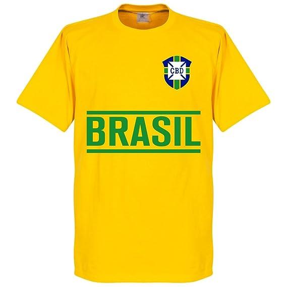 Camiseta de manga corta, diseño de Coutinho del equipo de fútbol de Brasil, color amarillo: Amazon.es: Deportes y aire libre