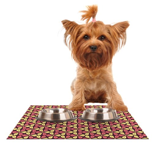 Kess InHouse Nick Atkinson Infinite Flowers Red  Feeding Mat for Pet Bowl, 18 by 13-Inch