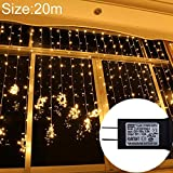Wkae UL588 20m IP43 New Waterproof LED Curtain Light, 200 LEDs Fairy String Decorative Light with End Joint & 8 Model Functions, US Plug (Color : Warm White)