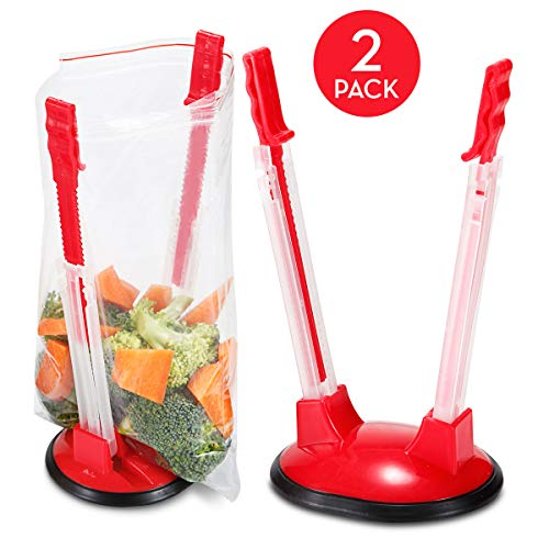 - Baggy Rack Set of 2 - Holds Your Ziplock Bag When You Can't - Hands Free Baggie Holder Stand Makes Prepping Freezer Meals Fast, Easy and Without The Mess - Dishwasher Safe Bag Holders for Busy Moms