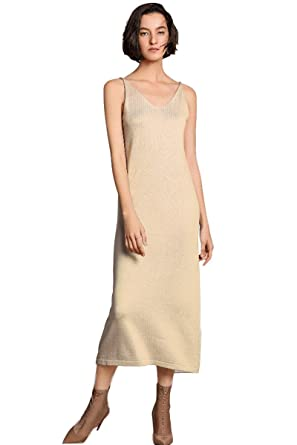 6f4f1d451ea Slip Dress Women s V Neck Spaghetti Strap Spring Crus Length Summer Cashmere  Knit Jumper Dresses (