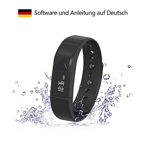 Surwin T5 Smart Watch Bluetooth SmartWatch Wasserdicht Smart Armband für Android iOS Phone Fitness Tracker - Schwarz