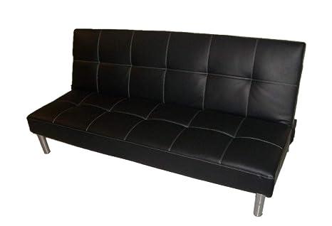 ITALFROM ATTESA - Sofá Cama Clic clac de 3 plazas, Color Negro (178 x 79 x 84 cm)
