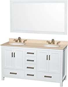 Wyndham Collection Sheffield 60 inch Double Bathroom Vanity in White, Ivory Marble Countertop, Undermount Oval Sinks, and 58 inch Mirror