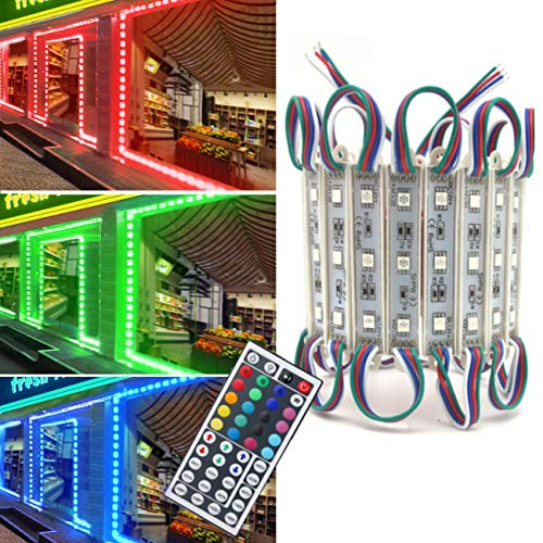 Storefront Lights, Pomelotree 2 Pack 3 Led 40PCS 5050 Super Bright LED Module Lights Waterproof Decorative Light with Tape Adhesive for Store Window Lighting and Advertising Signs