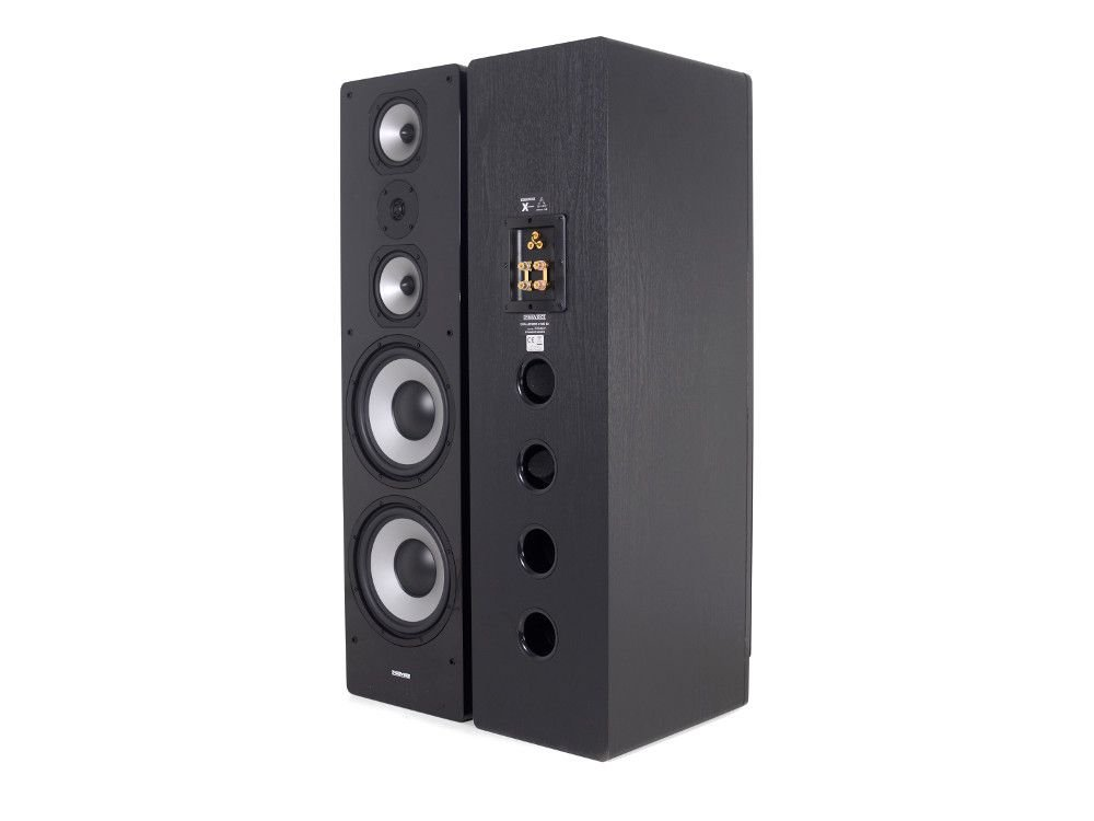 dynavoice Challenger M-105 EX V4 Black – Pair Floor Speakers 3 Way Bass  Reflex for Hi-Fi and Home Cinema System. MDF Wooden Cabinet with High Gloss  Front. 3a3756709d689