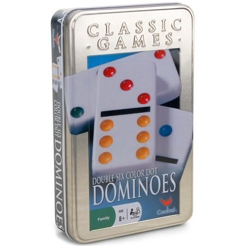 Cardinal Double Six Color Dot Dominoes In Color Collectors Tin, 28 Dominoes (1 Pack) by Cardinal