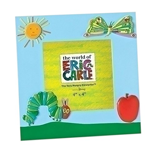 Roman 6.5 Inch Tall 4 X 4 Blue Photo Frame Featuring a Caterpillar, Butterfly and An Apple, From The World of Eric Carle by Roman