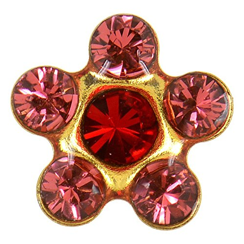 (Studex Sensitive Regular Ruby and Padparadscha Crystal Daisy Gold Plated Stud Earrings 5mm Setting)