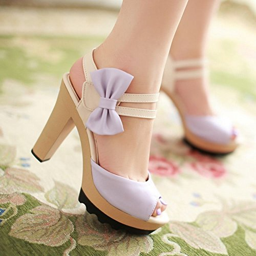 Carol Shoes Sweet Womens Bows Peep-toe Lolita Style Cute Fashion Platform Chunky High Heel Sandals Purple jIxIRMcmm