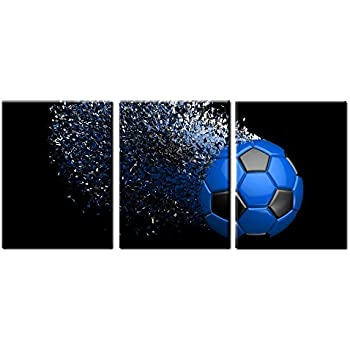 Nice Jingtao Art Blue Soccer Football Canvas Wall Art Prints Wrapped On Frames 3  Pieces For Boys