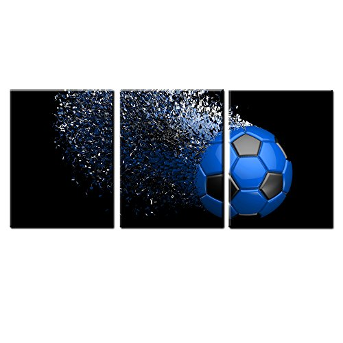 Jingtao Art Blue Soccer Football Canvas Wall Art Prints Wrapped on Frames 3 Pieces for Boys Kids Room Decoration Ready to Hang,12x16inchx3 (Blue) -