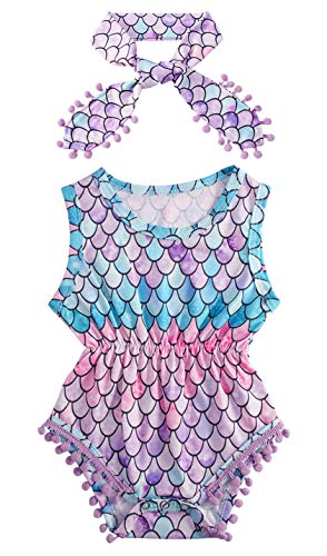 12M The Little Mermaid Fish Scale Hawaii Romper with Headband for Baby Girl Nevolty Summer Simple Soft Tassel Jumpsuit Outfits,Pink Purple Lavender Blue Green Colorful ()