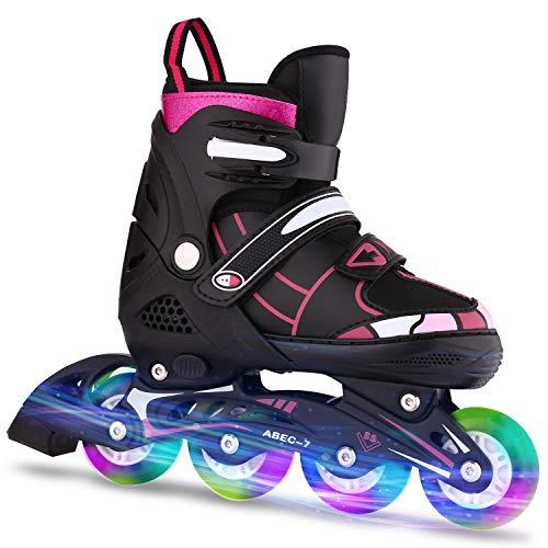 ANCHEER Inline Skates Adjustable Women Men Kids Roller Skates for Girls Boys Size 12-8 Aggressive Urban Toddler Skating (Red Athena, L: 5-8 US)