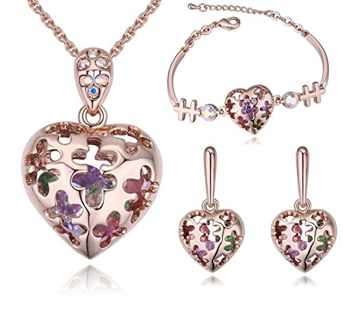 18ct RoseGold Plated Jewelry Set embellished with Crystals from Swarovski! Designer Heart, with shaking Crystals Necklace, Earring & Bracelet - In Black When Sale Friday Is Usa