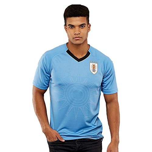 TOOGOO World Cup Men Sportswear Soccer Uruguay Shirt Breathable Short Sleeve Shirt Jerseys Uniforms Couple Football Kit Shirt (Uruguay World Cup)