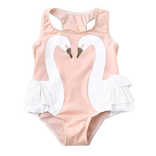 358e3bc40f606 Amazon.com: Summer Baby Kids Girl Swimsuit Sleeveless Swan Print Ruffle  Romper Swimwear: Clothing