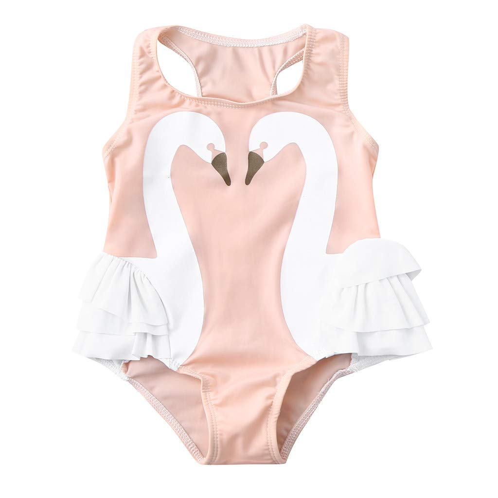 NUWFOR Toddler Baby Kids Girl Ruffles Swan Swimwear Swimsuit Beach Romper Clothes(Pink,2-3 Years)