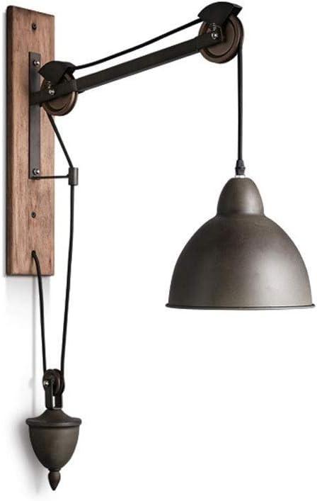 Kaidanwang Araña de hierro antigua - Viga de madera araña industrial Lámpara de pared con elevador retro estadounidense, cuerda de hierro forjado, lámpara de pared de brazo largo, sala de estar creati
