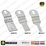Versa Tool AB-K15 15 Piece Stainless Steel Universal Oscillating Saw Blade Set For Fein Multimaster, Dremel, Bosch, Craftsman, Ridgid (AB5E,5F,5G) 5 Each