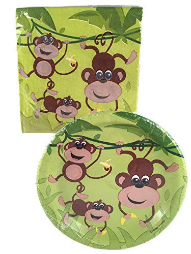 Monkey-AppetizerDessert-Plates-and-Napkins-Bundle-for-16-Guests
