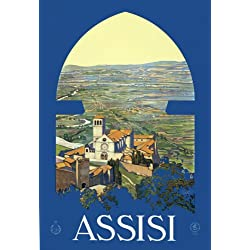 "T13 Vintage 1920 Italy Assisi Perugia Italian Travel Poster Re-Print - A4 (297 x 210mm) 11.7"" x 8.3"""
