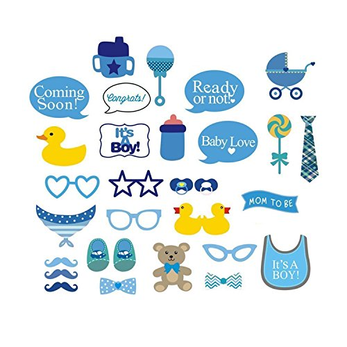 29pcs Party Props Photo Booth Funny Selfie Kit for Coming Soon It's a Baby Boy Show Events Shower Function by Wedding (Diy Instagram Selfie Halloween Costume)