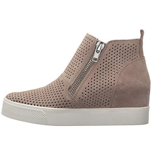 - Womens Fashion Sneaker Wedges Strap High Top Platform Zipper Flats Closed Toe